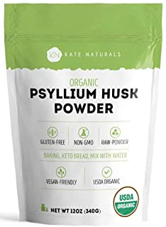 Psyllium Husk Powder Organic by Kate Naturals. Perfect for Baking, Keto Low Carb Bread and Consuming with W...