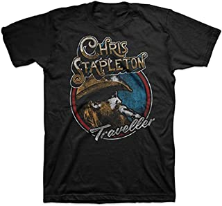 KKLDOGS Graphic Tee Men's Black Short Sleeve Chris Stapleton Traveller T-Shirt