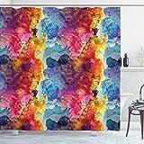 ABAKUHAUS Bunt Duschvorhang, Nahtlose Abstrakte Kunst, aus Stoff inkl.12 Haken Digitaldruck Farbfest Langhaltig Bakterie Resistent, 175 x 200 cm, Multicolor