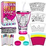 N&T NIETING - Vaso para niñas con diseño de color, sin BPA, reutilizable para niños con tapas y pajitas, regalo perfecto ideal para niños y manualidades de arte