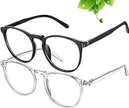 عینک مهارکننده FEIYOLD Blue Blue زنان / مردان برای استفاده از رایانه ، لیوان های ضد انعقادی ضد FDA تصویب شده ، لنزهای شفاف UV400 را برش دهید (2Pack)