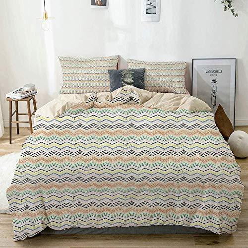 Juego de funda nórdica beige, composición artística geométrica con pinceladas estilo pinceladas salpicaduras Zig Zag Chevron, juego de cama decorativo de 3 piezas con 2 fundas de almohada Fácil cuidad