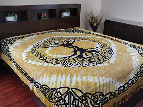 India Arts Celtic Tapestry Tree of Life Tapestry Cotton Bedspread Beach Sheet Beach Throw Bed Sheet Dorm Decor with Fringes (Full, Amber)