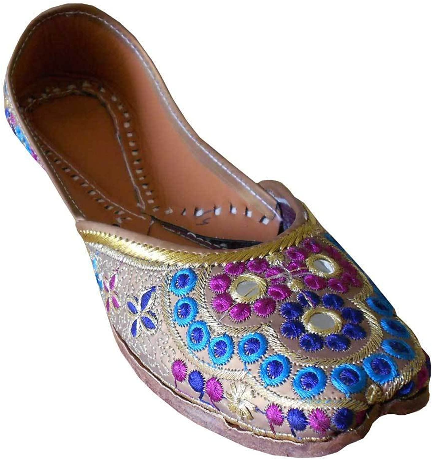 Kalra Creations Mojari Designer Indian Leather Women shoes Ethnic Flip-Flops Handmade Jutti