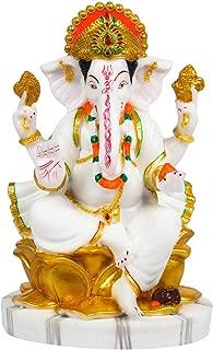 Sharvgun Ganesh ji Marble Statue Murti for Pooja Room Idols Home Decor White & Gold Indian Meditation Temple Mandir Puja Items