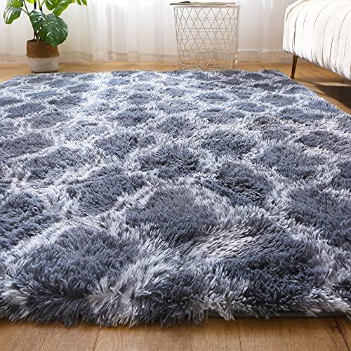 Leesentec Hochflor Teppich Wohnzimmerteppich Langflor - Flauschig Teppiche für Wohnzimmer und Schlafzimmer - Modern Design Shaggy Teppich (Dunkeles Grau, 160 x 200 cm)
