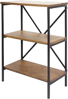 "Heather Ann Creations Anderson Modern Industrial Wood 3 Open Shelf Bookcase, 22"" Brown"