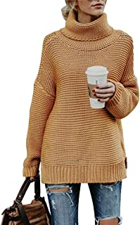 GADOTBOUTIQUE Women's Casual Long Sleeve Turtleneck Cable Knit Oversized Pullover Sweater Tops