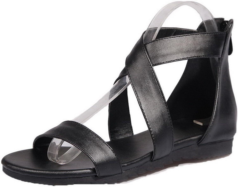 AmoonyFashion Women's Zipper Open Toe Low-Heels Pu Solid Sandals