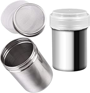 2 PCS Chocolate Shaker Coffee Powder Cocoa Flour Icing Sugar Sifter Stainless Steel Mesh Shaker Powder Cans with Lid for For Baking Cooking Home Restaurant