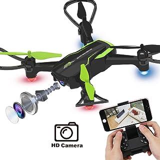 RC Mini Drone Plegable Regalo para Niños/Adultos Giroscopio de 6 Ejes con Control Remoto de Altitud Cuadricóptero HD WiFi Cámara FPV 2.4 GHz 8 Minutos Tiempo de Vuelo Negro+Verde