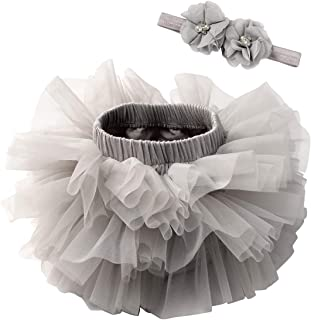 TUTUKIDS Baby Girls Tutu Bloomers Diaper Cover Cotton Tulle Bloomers and Headband Set 6M-3T