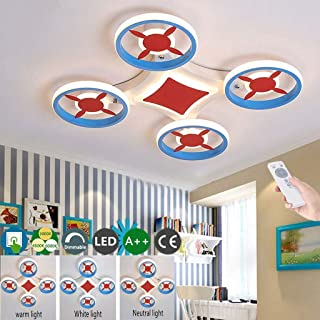 Aircraft Ceiling Lamp Kids Bedroom Ceiling Light Creative Airplane Design Lampshade Cartoon LED Dimmable Flush Mount Light...