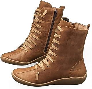 POLP Mujer Zapatos Planos Estilo Vintage con Cremallera Botines con Cordones para Mujer Botas cortos Deportivas Zapatilla ...