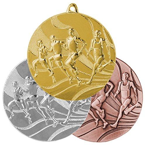pokalspezialist 10 Stück Medaillenset Laufen/Leichtathletik je 1 x Gold, Silber, Bronze aus Stahl MMC2350