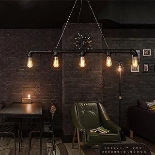 Lingkai Lámpara de techo industrial Vintage luz Edison rústico retro luz colgante Steampunk Metal tubo de agua luces (sin bombilla)