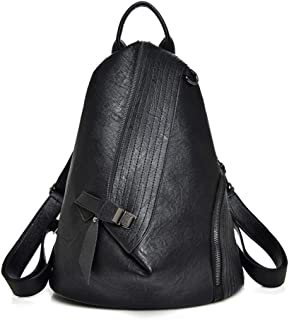 Women Backpack Vintage Leather Simple Design Convertible Lightweight Anti-theft College Daypack