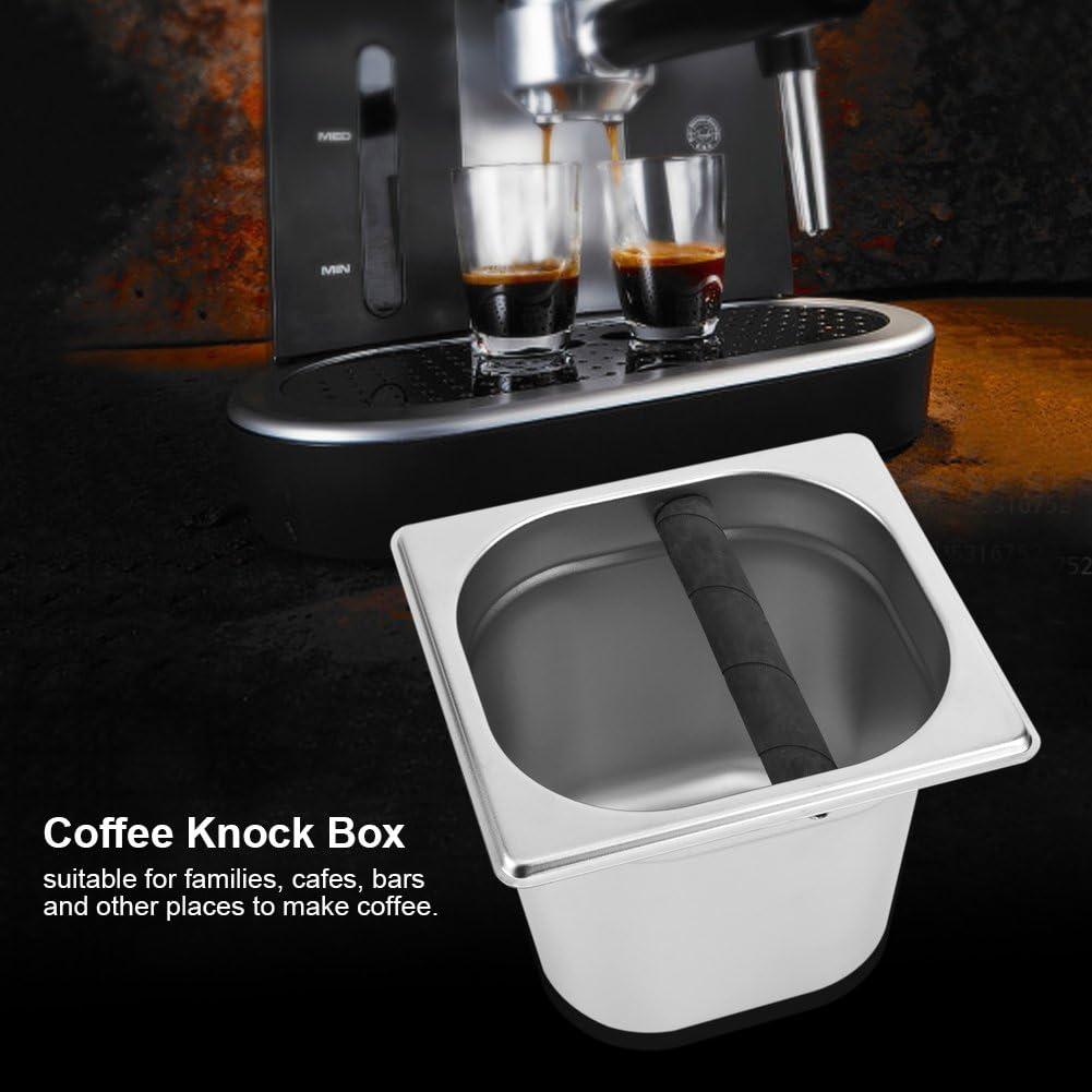 S Contenedor de Acero Inoxidable Espresso Knock Box con Barra de Goma para Cafetera