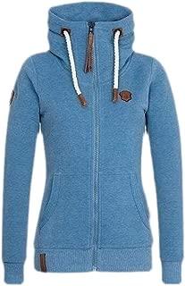 Macondoo Womens Hooded Stand Collar Sweatshirt Full-Zip Coat Casual Jackets