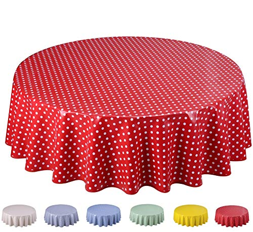 Home Direct Tovaglia in Tela Cerata plastificata Rotonda 140cm Pois Piccolo Rossa