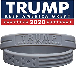 Sainstone Trump Keep America Great with American Flag for President 2020 Silicone Bracelets with Durable Debossed Text - Rubber Motivational Wristbands - Adults Gifts for Teens Men Women