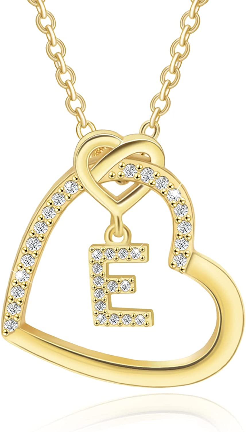 Heart Initial Necklace for Women Gold Popular brand in the world Oklahoma City Mall Neckla Plated 14K