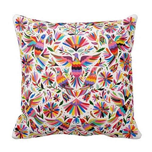 Robertoss Diseño Mexicano Colorido Palomas Fundas de cojín de faisán–Lienzo Decorativo Funda de Almohada 18x 18Pulgadas