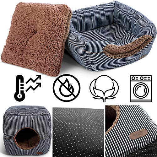 "Smiling Paws Pets Unique 2-in-1 Cat Bed/Cat Condo & Cat House | A Cat Cube with Thick Organic Cotton, Plush Sherpa Lining and Side Pocket for Small Toys | 13"" x 13"" x 13"""