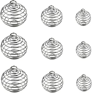 30 Pcs Silver Plated Spiral Spring Bead Cages Pendants - DIY Lava Stone Beads Gemstone Jewelry Making Accessories - Hollow Shake The Ball Mixing Ball Lantern Ball Spring Pendant Charm