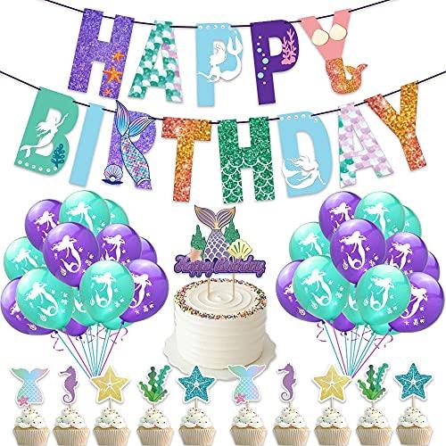AngYou Sirena Tema látex Lentejuelas Globo Tirar Bandera Pastel Juego cumpleaños Letra Party Decoration Suministros (Style : Package 1)