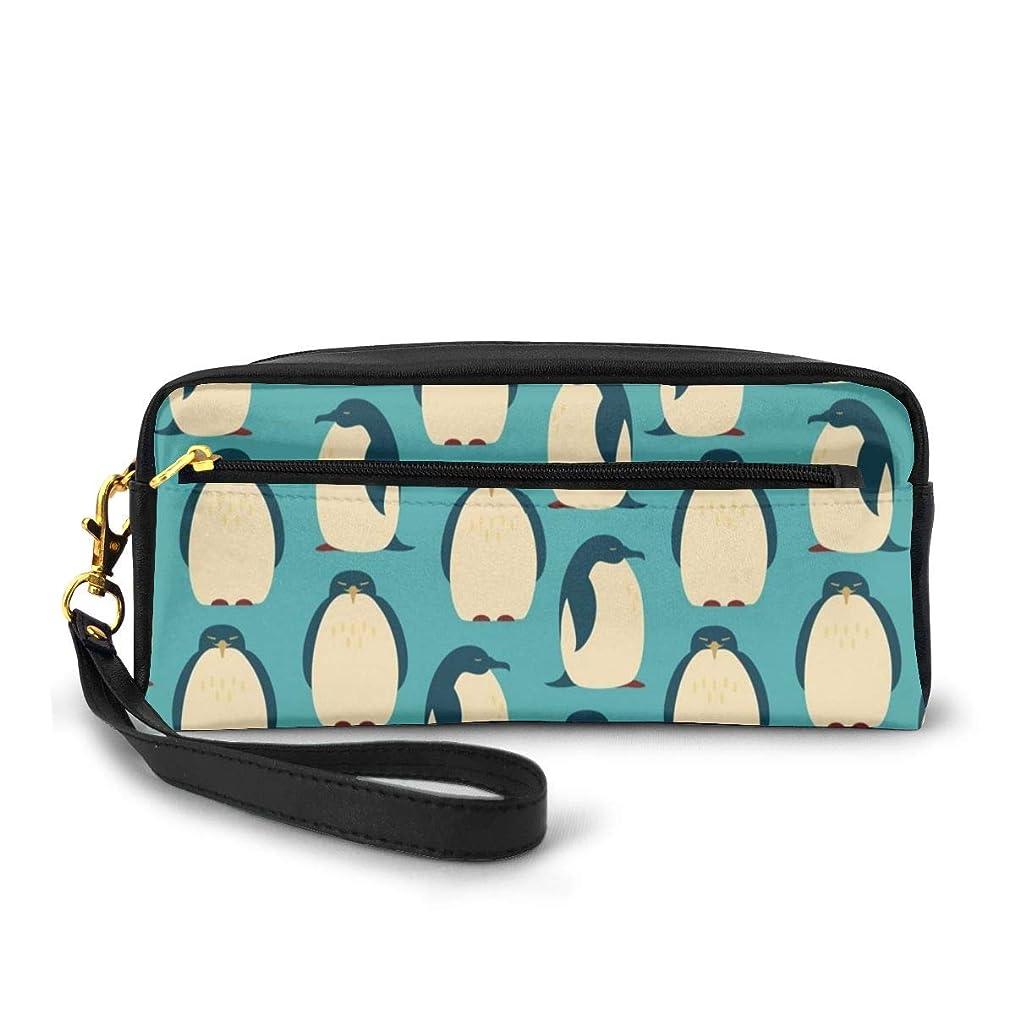 弾力性のあるうねるモジュールハッピーペンギン 化粧品収納バッグ ウォッシュバッグ ハンドバッグ 化粧品袋 耐久性のある 筆箱 トラベルバッグ カラフルなス ポータブル スキンケア製品収納袋