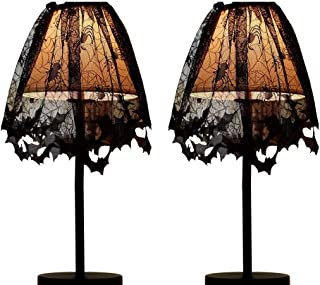 willstar Halloween Lace Lamp Shade Cover 60 x 20 Inches Gothic Black Lace Spiderweb for Halloween Decorations (2-Pack)