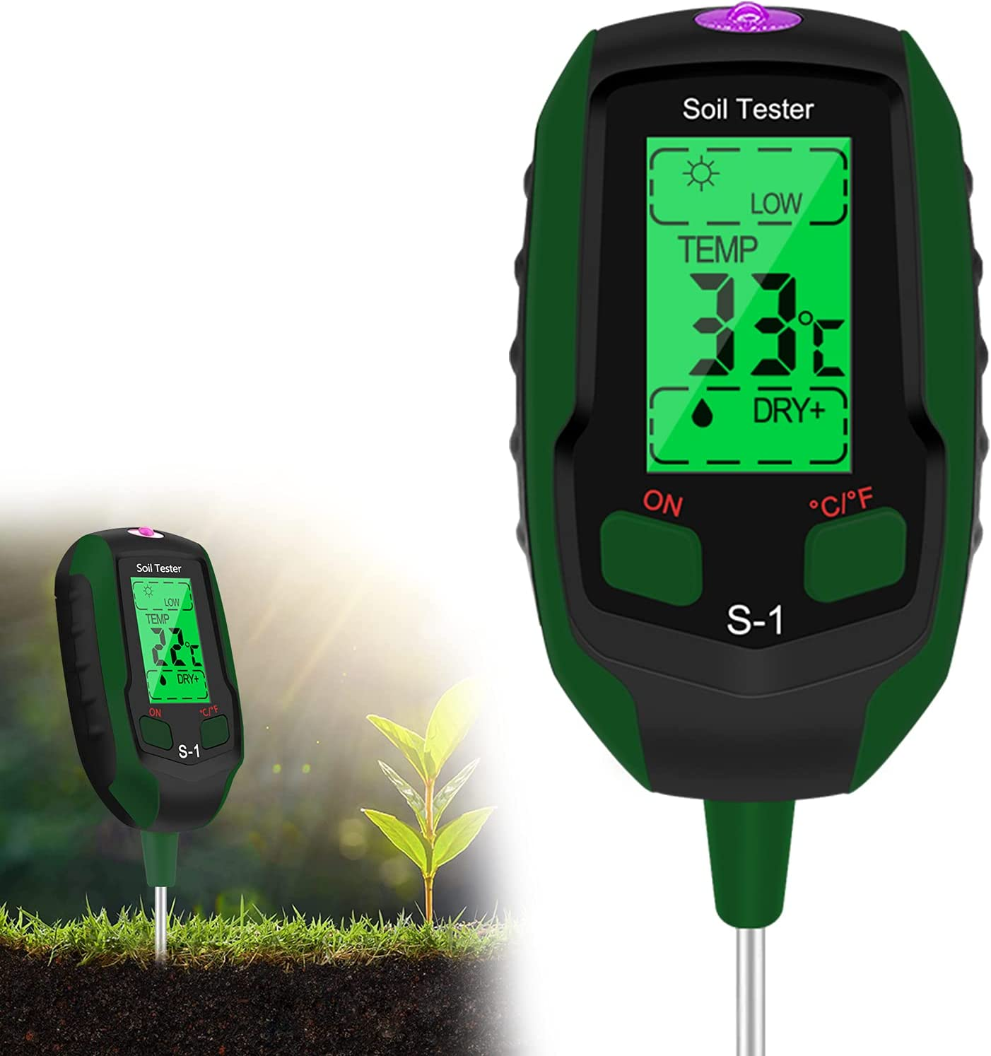 Esimen Upgraded 4-in-1 Soil PH Meter, Soil Tester Moisture with Light/PH/Temperatur, Digital Plant Thermometer Test, Moisture Meter Light for Gardening, Farming, Indoor and Outdoor Plants (S1, Green)