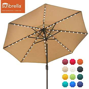 EliteShade Sunbrella Solar Umbrellas 9ft Market Umbrella with 80 LED Lights Patio Umbrellas Outdoor Table Umbrella with Ventilation and 5 Years Non-Fading Top,Beige