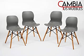 CAMBIA TUS MUEBLES - Pack de 4 sillas, Dream SILLAS Comedor, salón (Gris)
