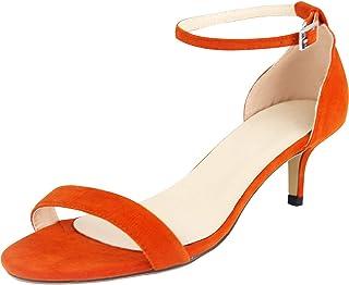 e5f0eba3df0761 wealsex Sandales Escarpins Femme Suédé Talon Moyen Bout Ouvert Bride  Cheville Boucle Chaussure Confort Soirée Mariage