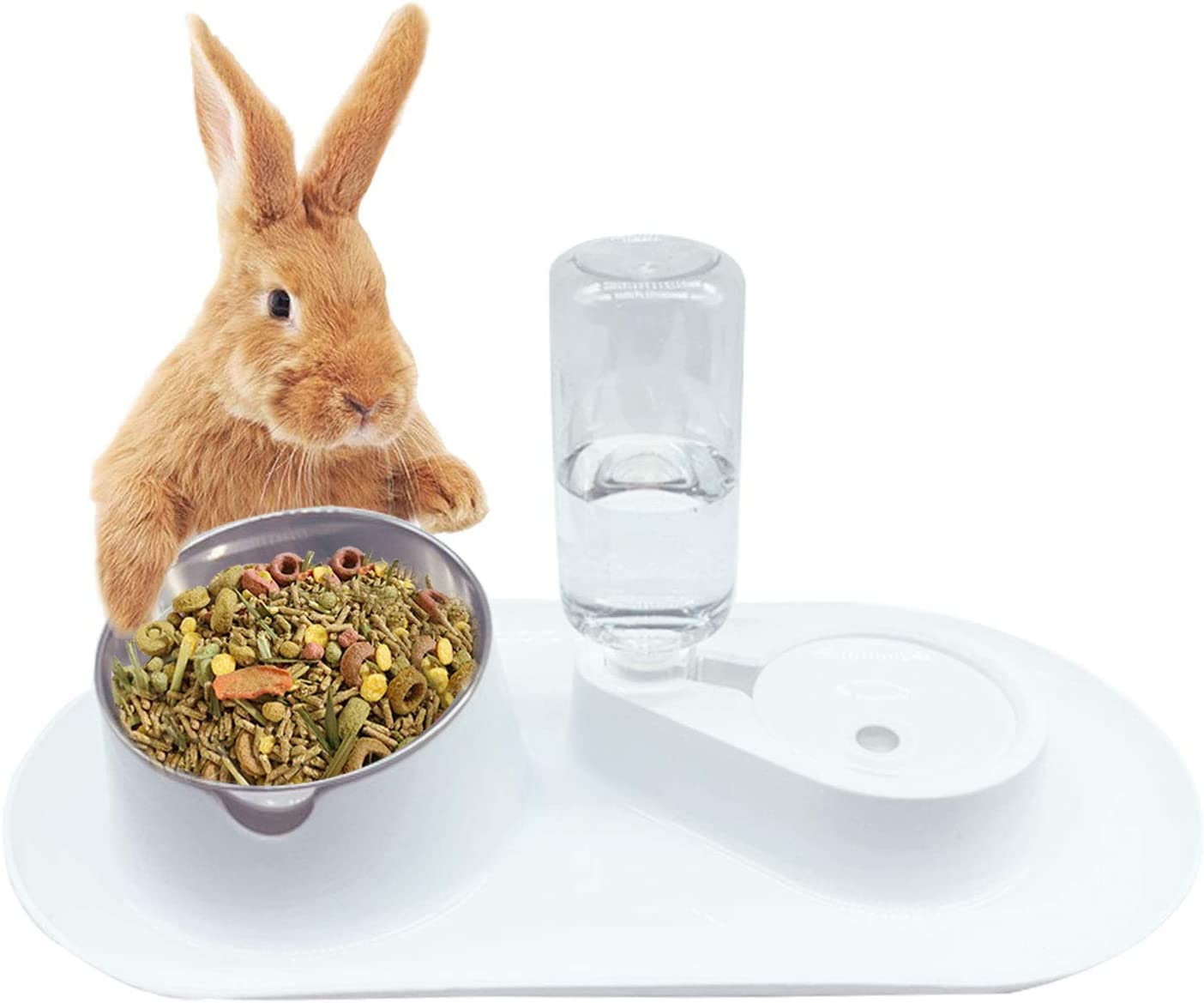 Tfwadmx Rabbit Double Bowls Bunny Automatic Water Dispenser Detachable Plastic Bottle Adjustable Titled Neck Protection Food Feeder for Chinchilla Cat Puppy Squirrel and Other Small Animals