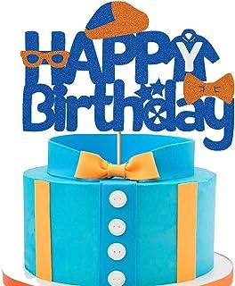Vivicraft Happy Birthday Cake Topper for Blippi Cake Decoration, Glitter Birthday Cake Topper for Girls Boys Blippi Theme ...