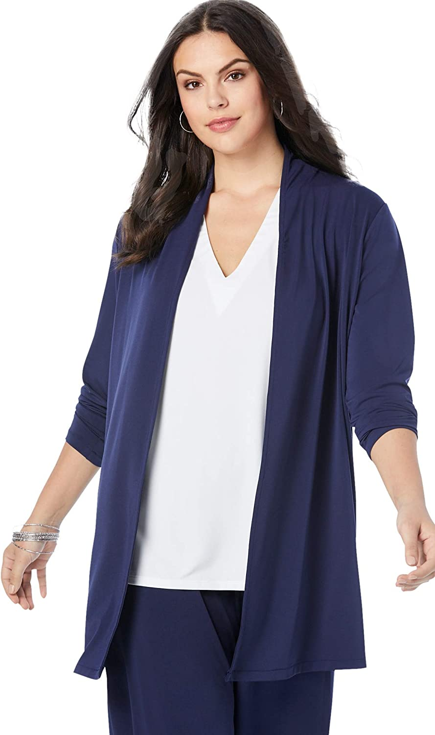 Roamans Women's Plus Size Ultrasmooth Fabric Long-Sleeve Cardigan Stretch Jersey Topper