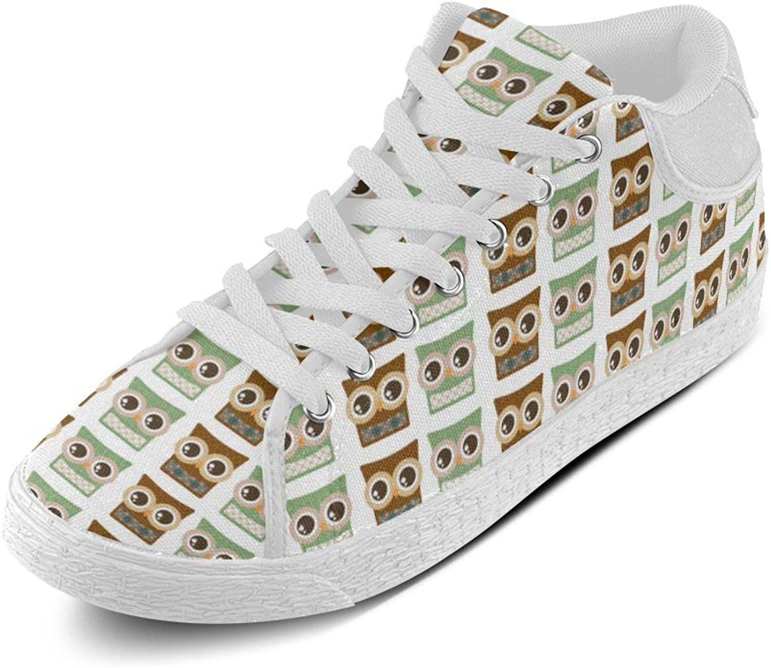 CERLYRUAN Brown and Green Owl Canvas Chukka Canvas Women's shoes