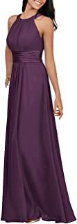 Women's Halter Bridesmaid Dresses Long Chiffon Formal Evening Party Prom Gown