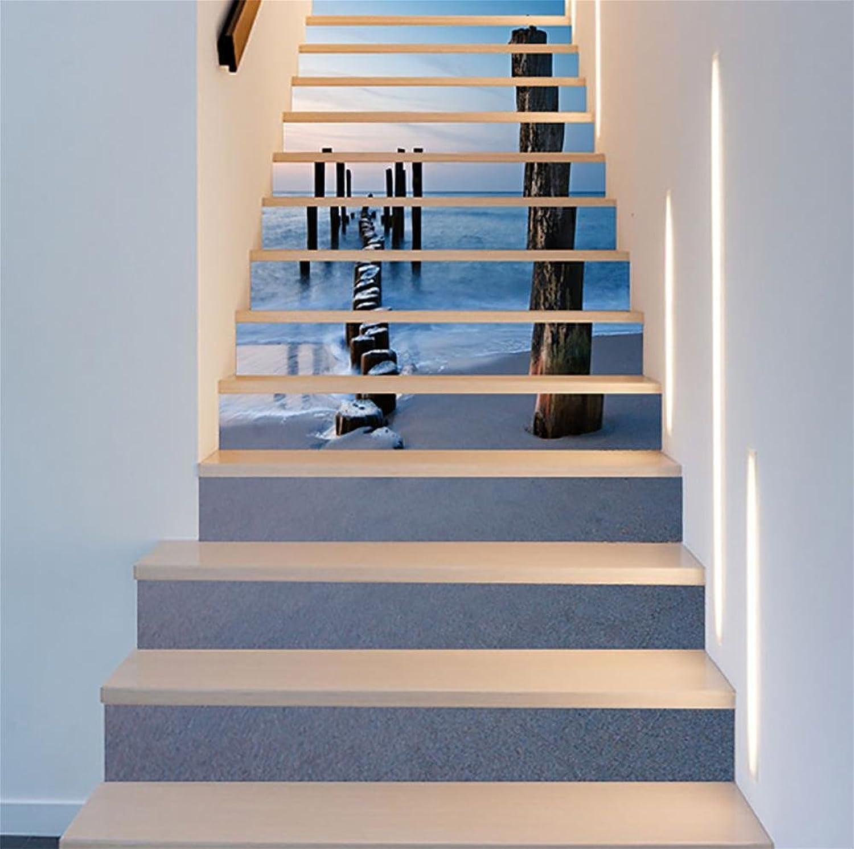 LTTSTD Treppenaufkleber Seeblick Treppen Treppen Treppen Dekoration 3D Renoviert DIY Bodenabziehbilder Herausnehmbar Wasserdicht Selbstklebend Kreativ Aufkleber Kunst Wohnkultur Wandbild, B B07LCMX2C3   Vielfalt  f7da75