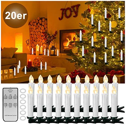 YaOBLUESEA 20 stuks kerstkerstverlichting LED kaarsen lichtketting draadloos kerstkaarsen kerstboomversiering kerstboomverlichting met afstandsbediening draadloos voor kerstboom kerstdecoratie bruiloft wit