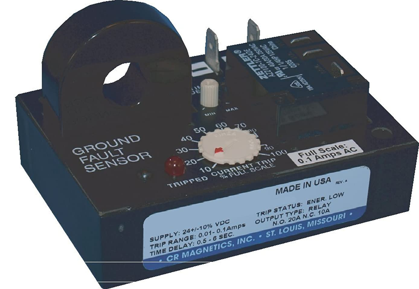 CR Magnetics CR7310-EL-24D-101-X-CD-NPN-R Ground Fault Sensor Relay with Optoisolated NPN Transistor and Remote Transformer, 24 VDC, Energized on Low Trip, 10 to 100 AAC Trip Range