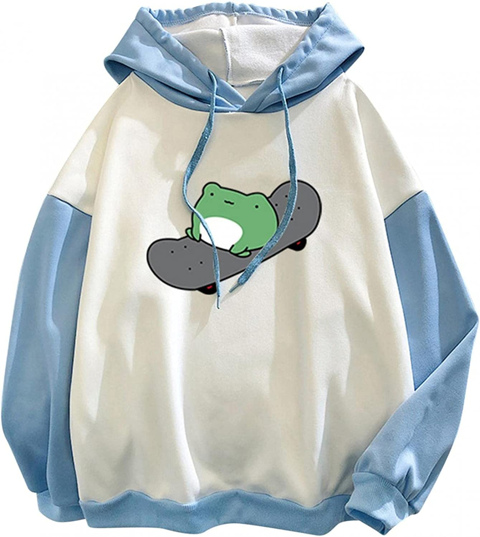 Women Sweatshirts,Womens Crewneck Sweatshirts Plus Size Long Sleeve Cute Graphic Frog Hoodie Lightweight Pullover