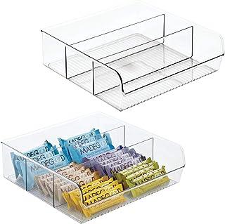 mDesign プラスチック食品ストレージビン 仕切り3つと傾斜フロント付き キッチンキャビネット パントリー/棚用 調味料パケット/パウダーミックス/スパイス/スナックを整理 2個パック クリア