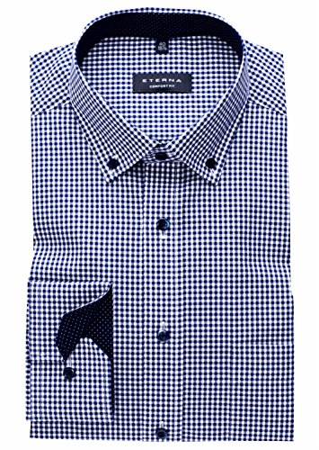 eterna Hemd Comfort Fit Button-Down-Kragen Patch 4176/19 E144, Blau Weiß, 45