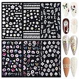 FLOFIA 6 Hojas Pegatinas Uñas Adhesivas Flores 5D Mariposa,...