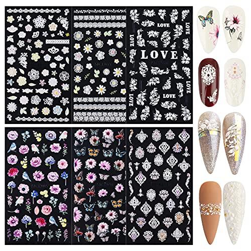 FLOFIA 6 Blatt Selbstklebende Nagelsticker 5D Schmetterling Blumen Nagelaufkleber Bunt Nail Art Tipp Sticker Decals DIY Dekoration für Damen Mädchen Fingernägel Tattoo