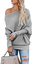 Gemijack Womens Off Shoulder Jumper Rib Knitted Batwing Pullover Sweater Knit Tops